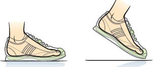 Evolução da passada com a utilização de tênis.
