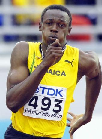 Usain Bolt durante prova dos 400 metros. (Jesus.orbea/wikimedia)